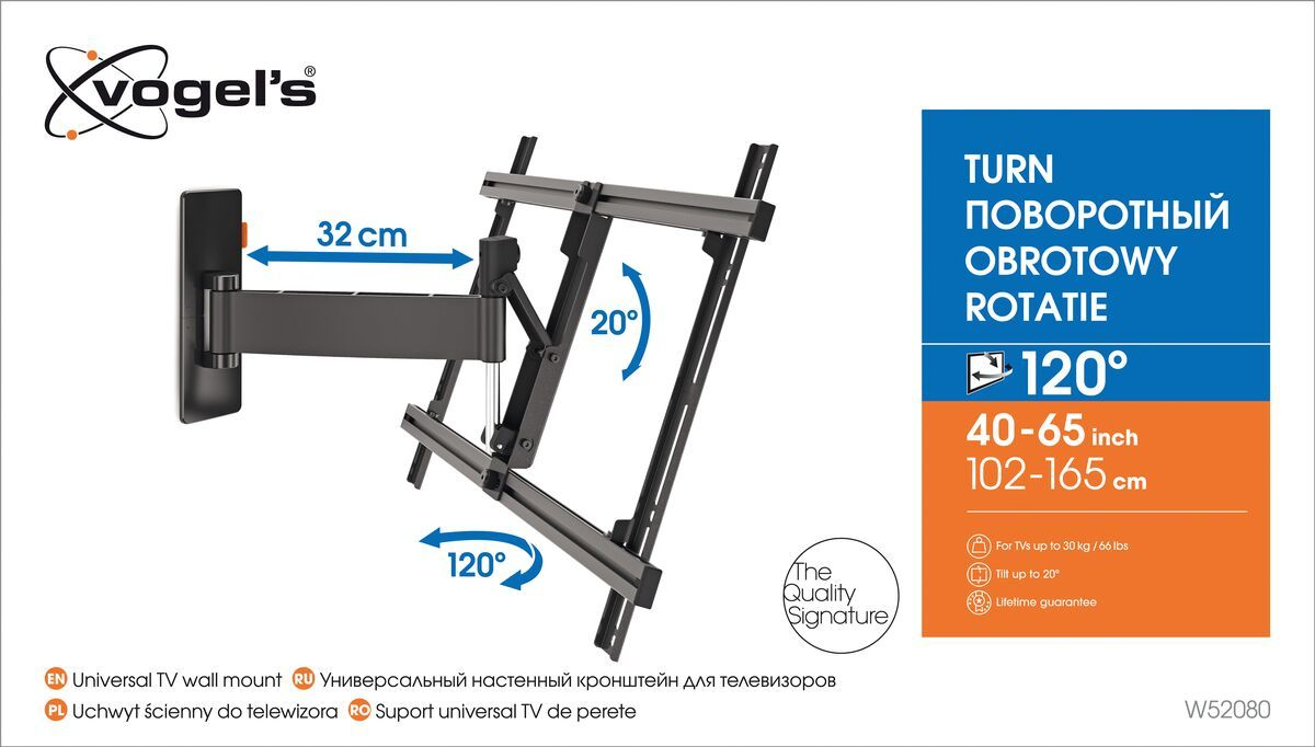 Vogel's W52080 Full-Motion TV Wall Mount (black) - Suitable for 40 up to 65 inch TVs - Motion (up to 120°) - Tilt up to 20° - Packaging front