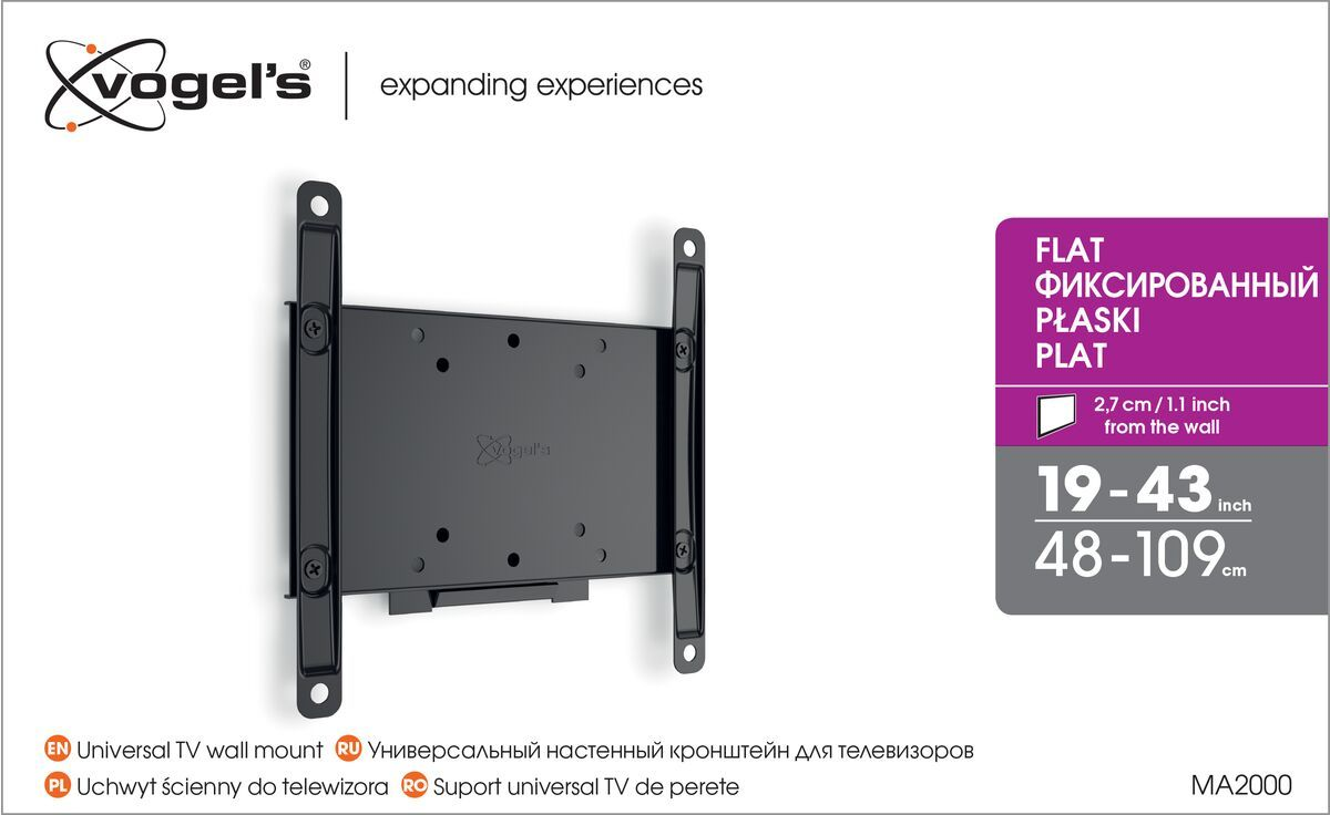 Vogel's MA 2000 (A1) Fixed TV Wall Mount - Suitable for 19 up to 40 inch TVs up to 30 kg - Packaging front