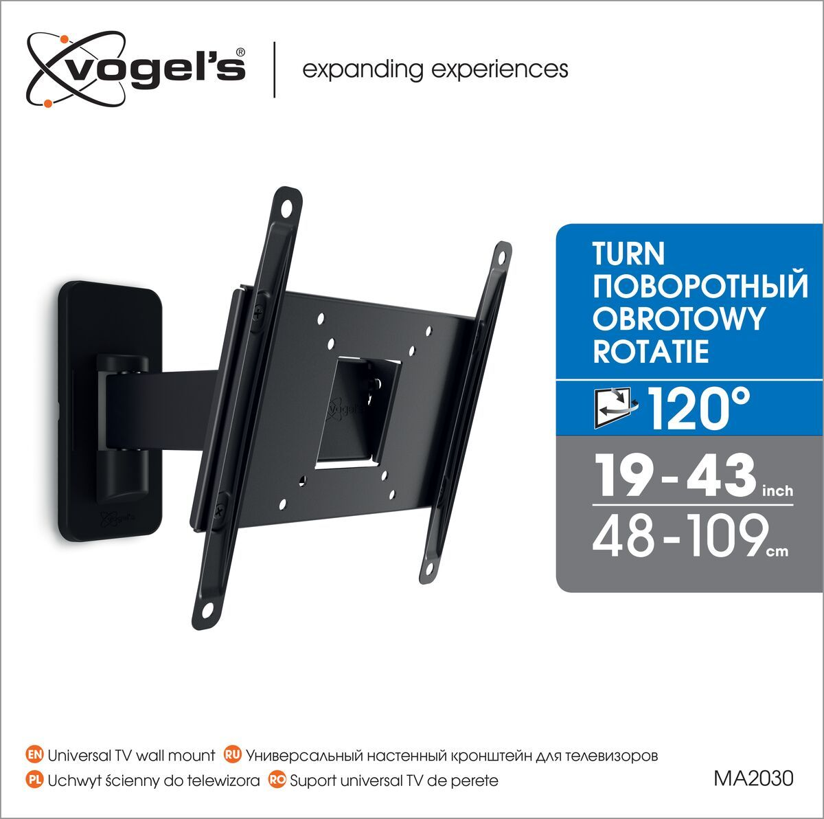 Vogel's MA 2030 (A1) Full-Motion TV Wall Mount - Suitable for 19 up to 40 inch TVs - Motion (up to 120°) - Tilt up to 15° - Packaging front