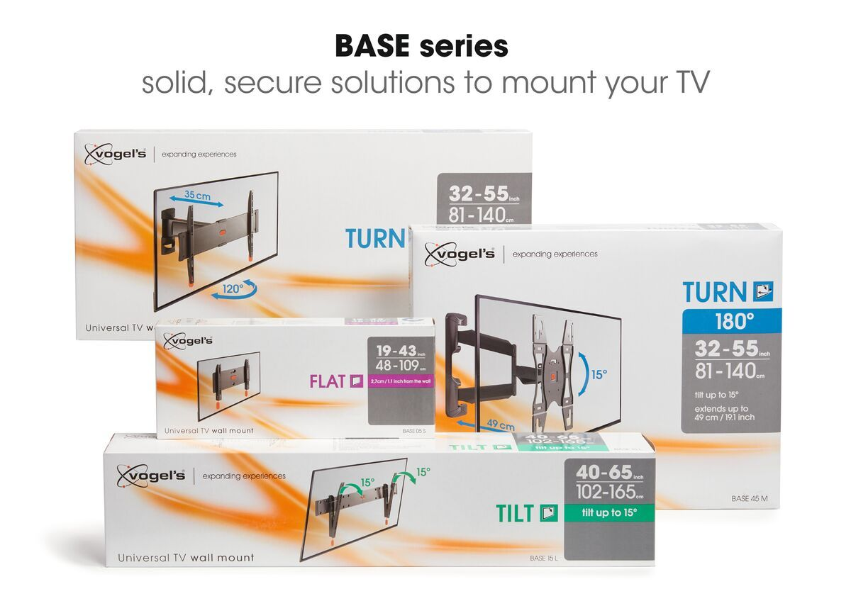 Vogel's BASE 45 M Full-Motion TV Wall Mount - Suitable for 32 up to 55 inch TVs - Full motion (up to 180°) - Tilt up to 15° - USP
