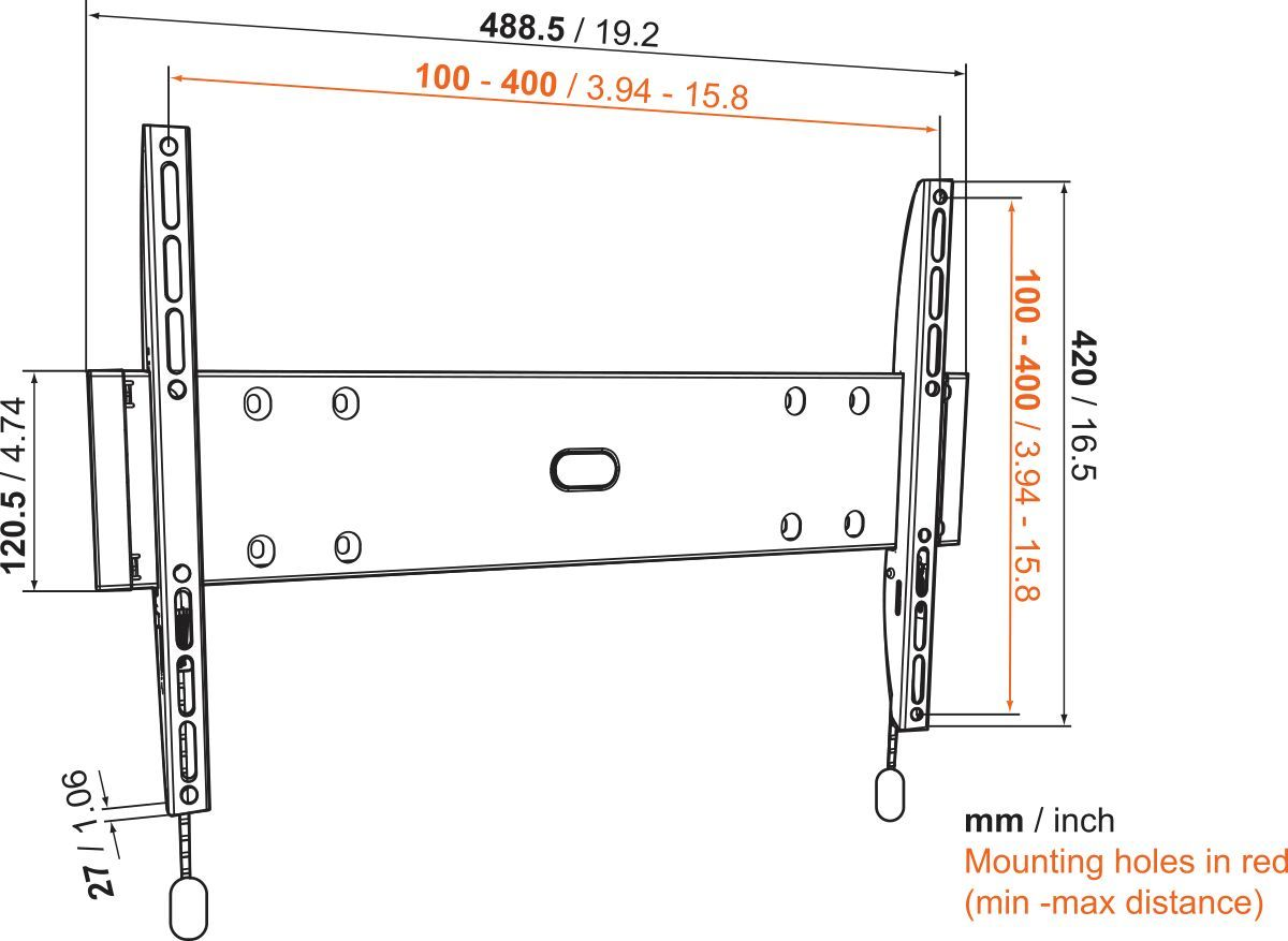 Vogel's BASE 05 M Fixed TV Wall Mount - Suitable for 32 up to 55 inch TVs up to 30 kg - Dimensions