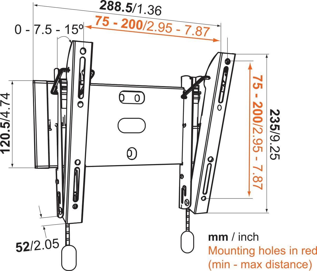 Vogel's BASE 15 S Tilting TV Wall Mount - Suitable for 20 - Suitable for Dimensions