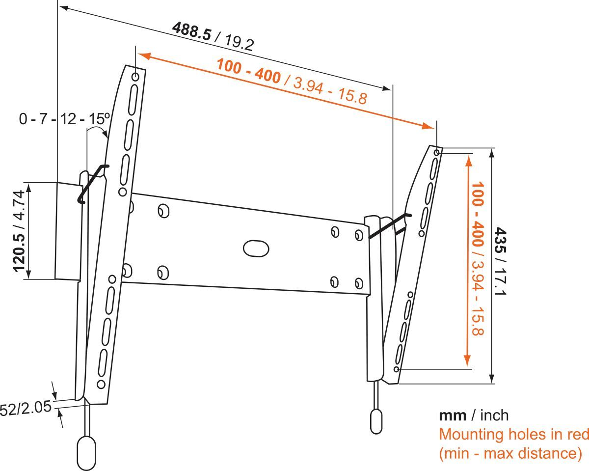 Vogel's BASE 15 M Tilting TV Wall Mount - Suitable for 32 up to 55 inch TVs up to 30 kg - Tilt up to 15° - Dimensions