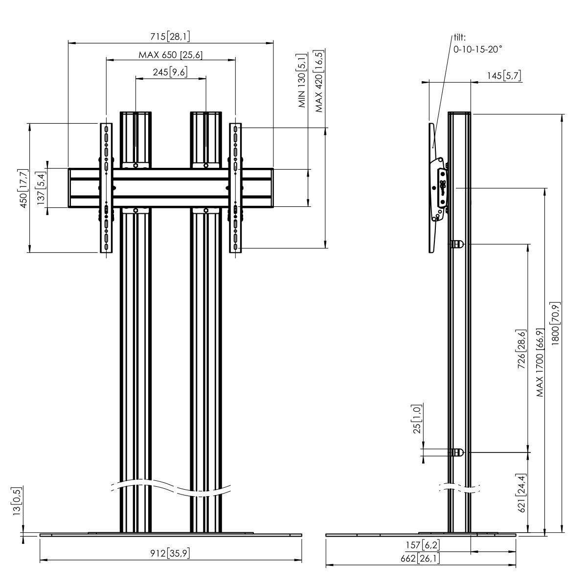 Vogel's FD1864B Floor stand - Dimensions