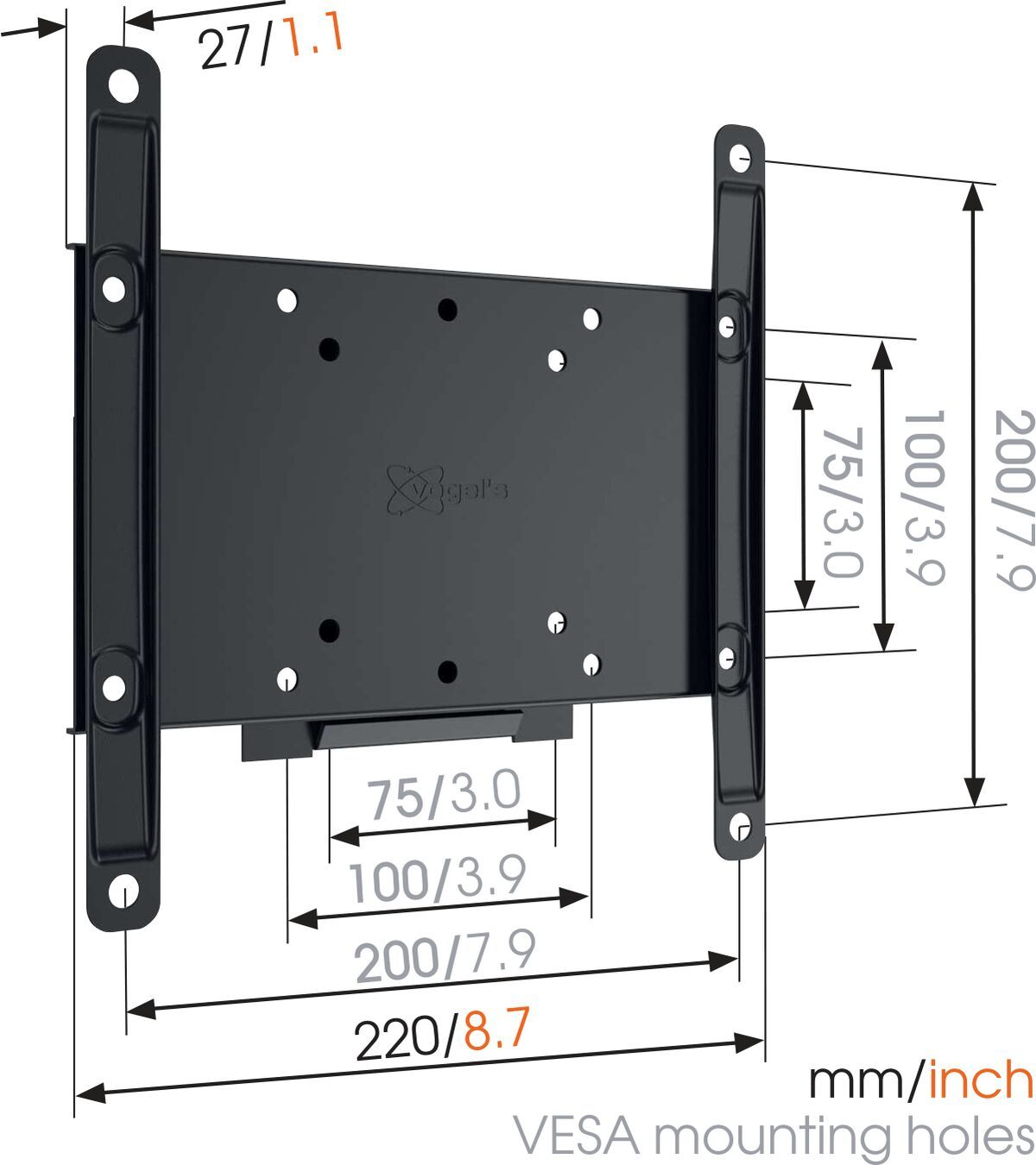 Vogel's MA 2000 (A1) Fixed TV Wall Mount - Suitable for 19 up to 40 inch TVs up to 30 kg - Dimensions