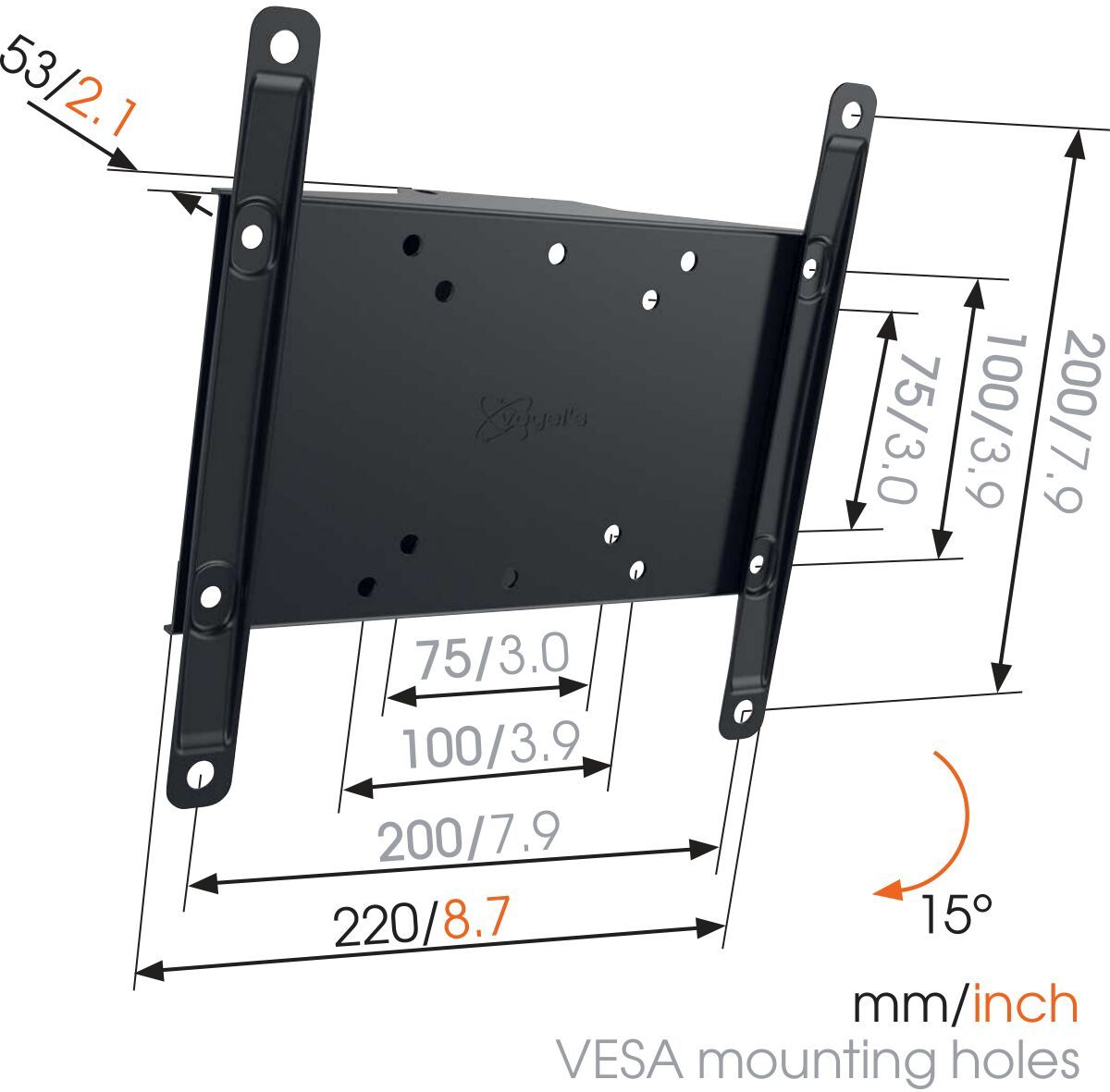 Vogel's MA 2010 (A1) Tilting TV Wall Mount - Suitable for 19 up to 40 inch TVs up to 30 kg - Tilt up to 15° - Dimensions