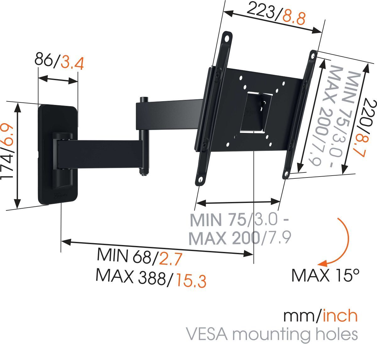 Vogel's MA 2040 (A1) Full-Motion TV Wall Mount - Suitable for 19 up to 40 inch TVs - Full motion (up to 180°) - Tilt up to 10° - Dimensions