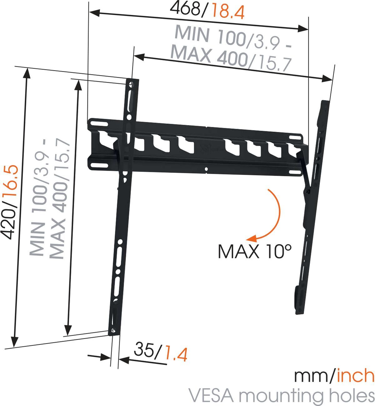 Vogel's MA 3010 (A1) Tilting TV Wall Mount - Suitable for 32 up to 55 inch TVs up to 40 kg - Tilt up to 10° - Dimensions