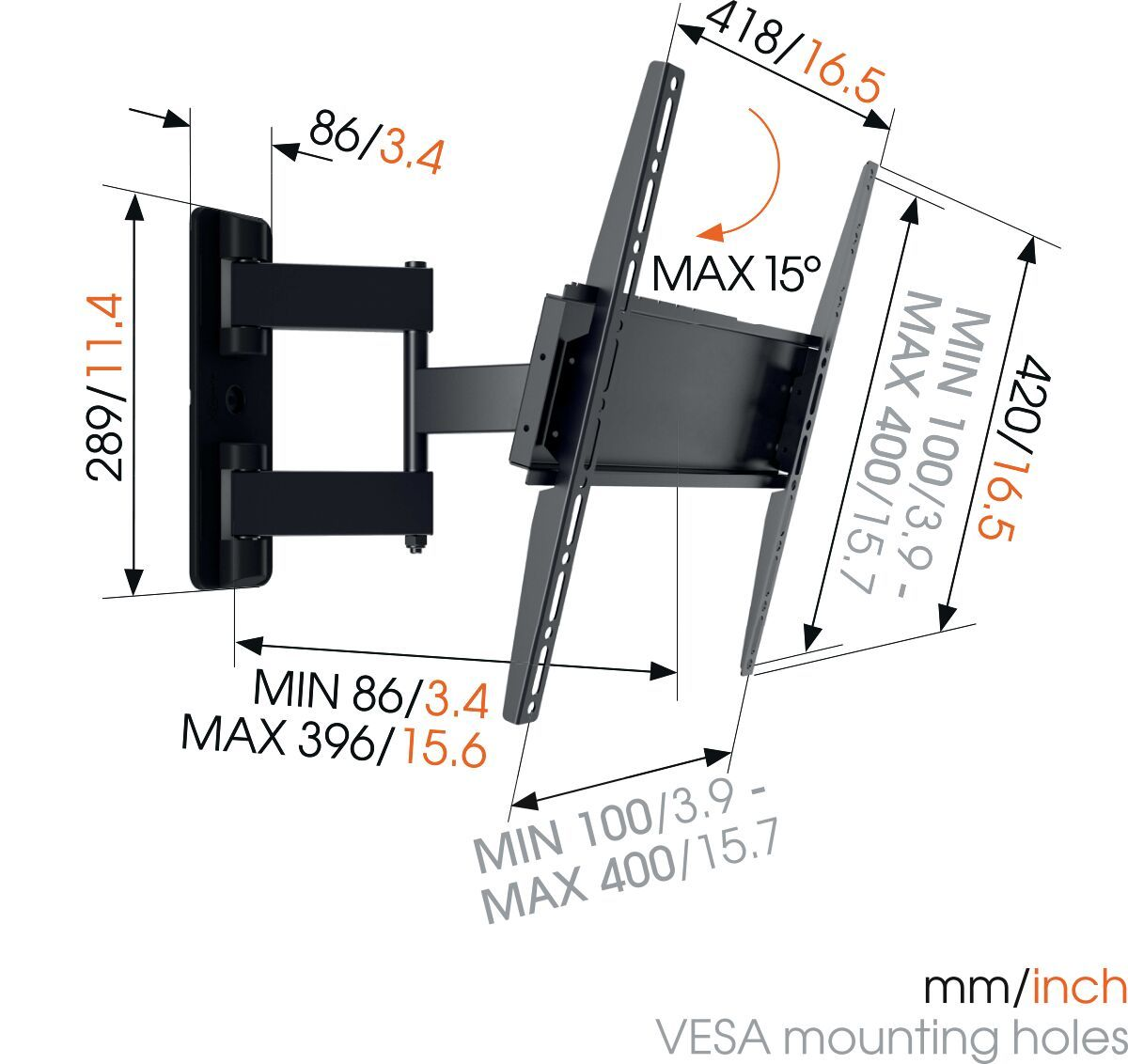 Vogel's MA 3040 (A1) Full-Motion TV Wall Mount - Suitable for 32 up to 55 inch TVs - Full motion (up to 180°) - Tilt up to 10° - Dimensions