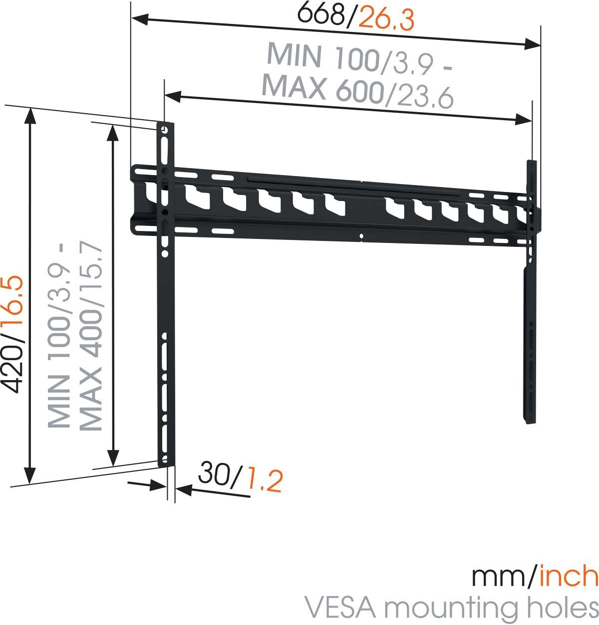 Vogel's MA 4000 (A1) Fixed TV Wall Mount - Suitable for 40 up to 80 inch TVs up to 80 kg - Dimensions