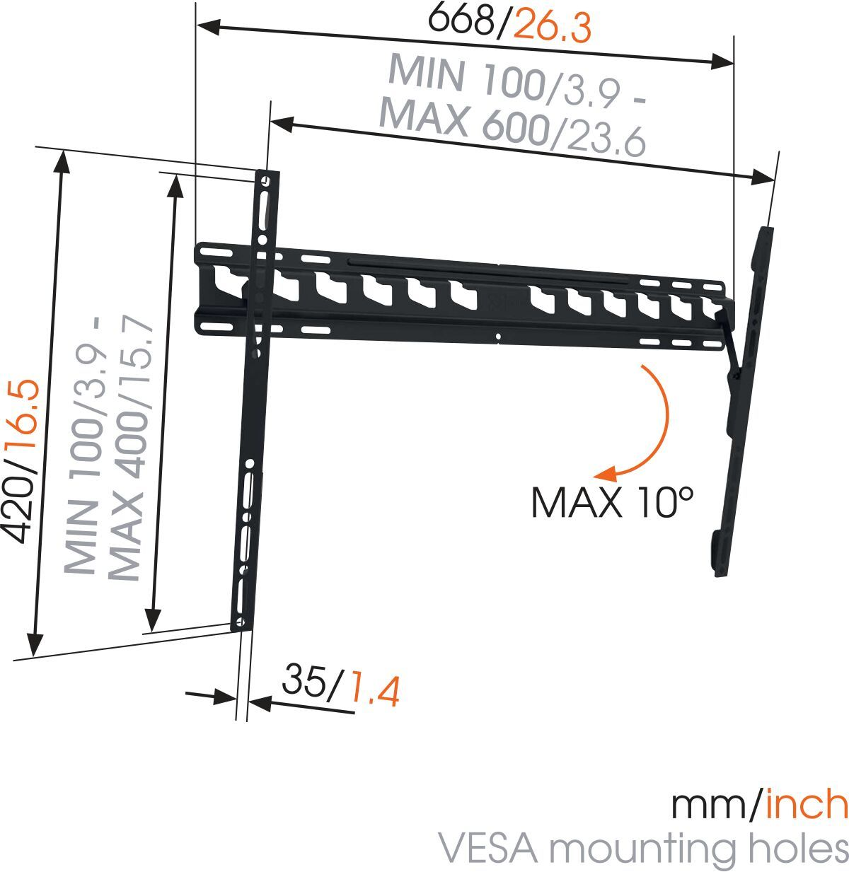 Vogel's MA 4010 (A1) Tilting TV Wall Mount - Suitable for 40 up to 65 inch TVs up to 60 kg - Tilt up to 10° - Dimensions