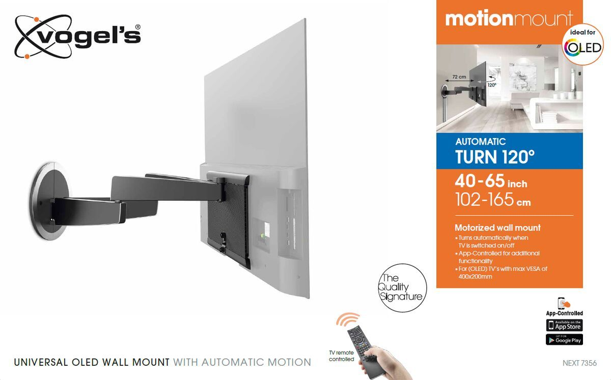 Vogel's MotionMount (NEXT 7356 AU) Full-Motion Motorised TV Wall Mount ideal for OLED TVs - Suitable for 40 up to 65 inch TVs up to 30 kg - Motion (up to 120°) - Packaging front