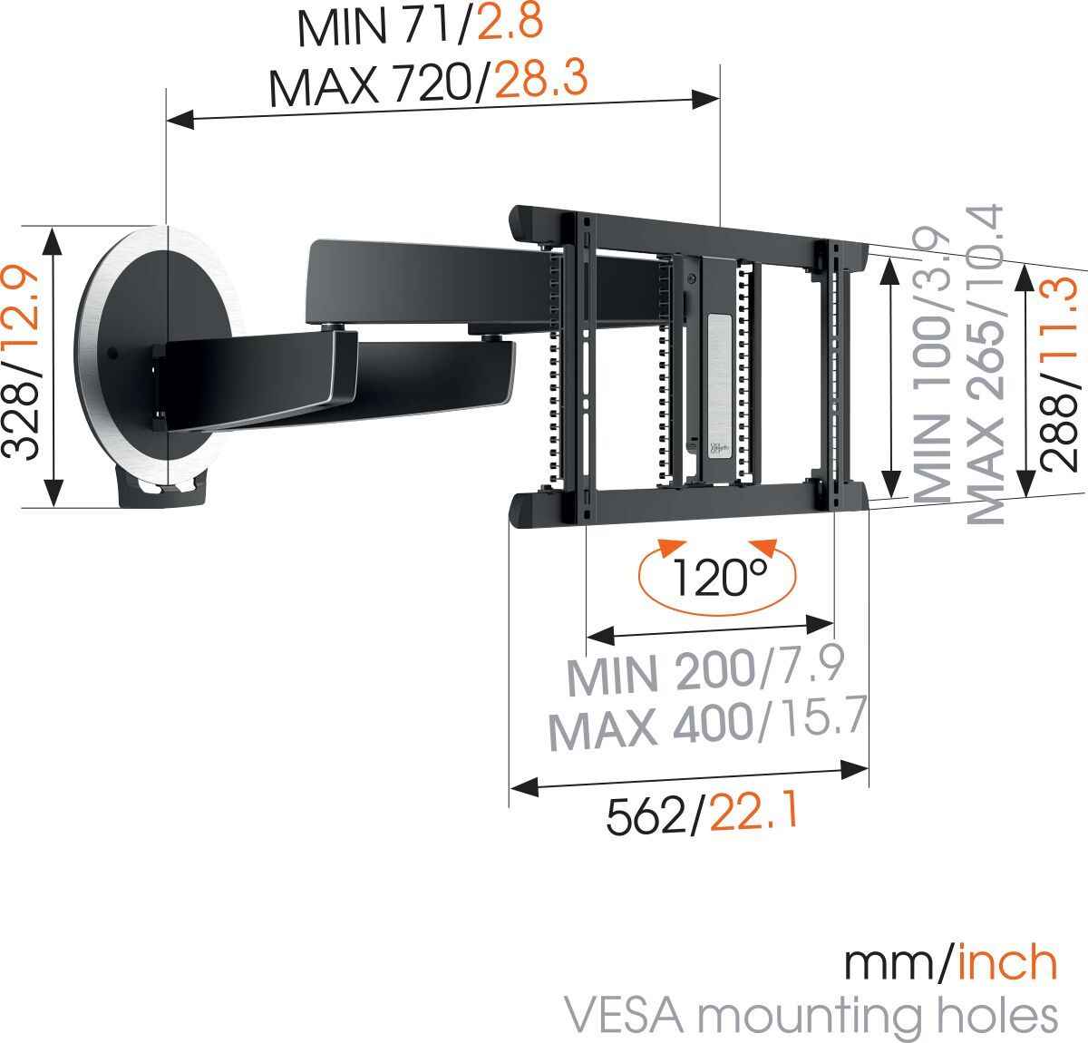 Vogel's MotionMount (NEXT 7356 AU) Full-Motion Motorised TV Wall Mount ideal for OLED TVs - Suitable for 40 up to 65 inch TVs up to 30 kg - Motion (up to 120°) - Dimensions