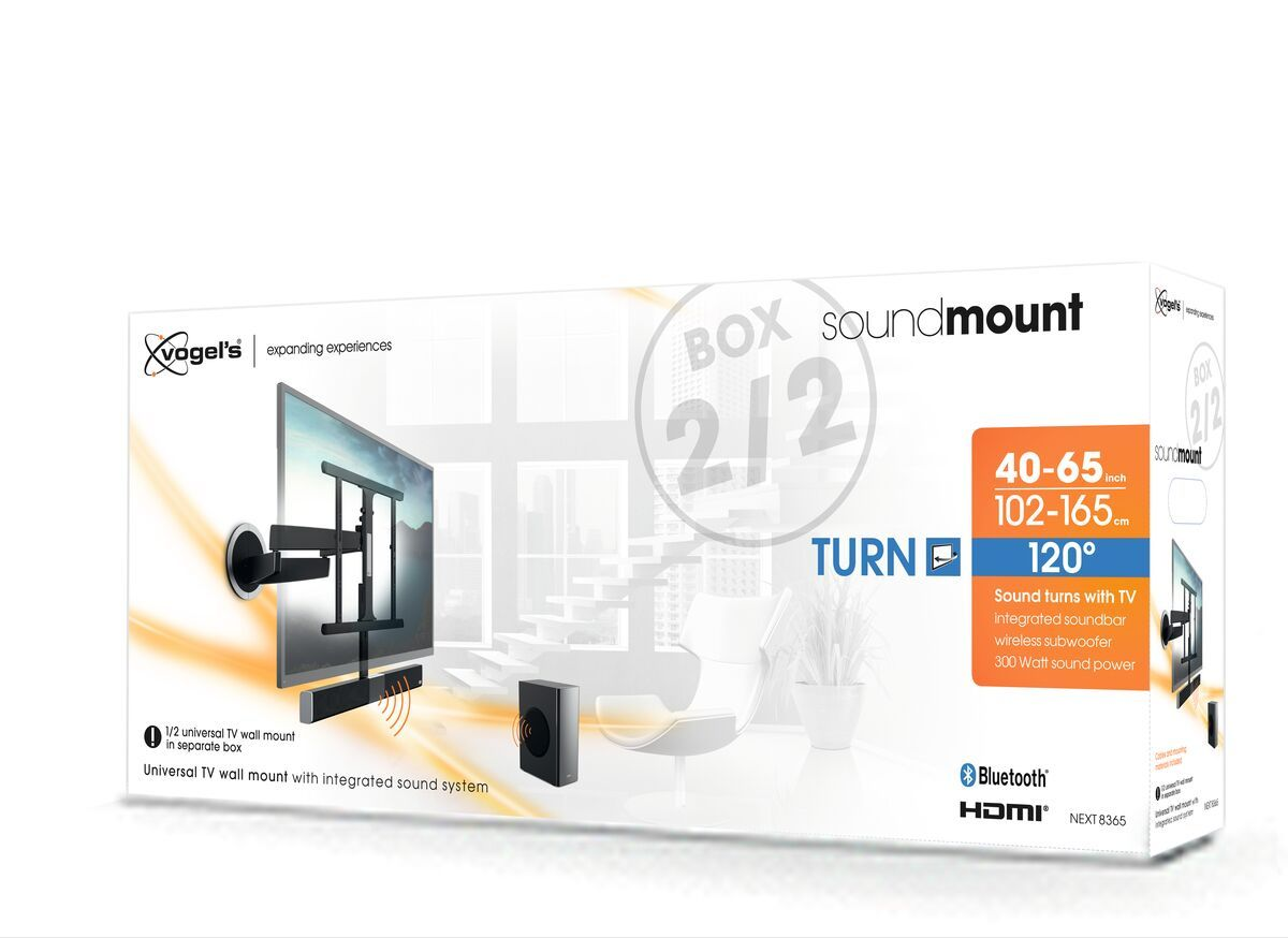 Vogel's SoundMount (NEXT 8365) Full-Motion TV Wall Mount with Integrated Sound 40 65 30 Motion (up to 120°) Pack shot 3D