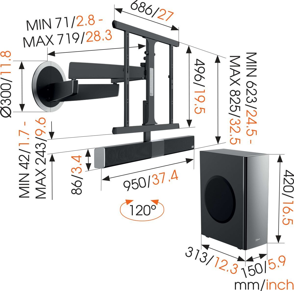 Vogel's SoundMount (NEXT 8365) Full-Motion TV Wall Mount with Integrated Sound 40 65 30 Motion (up to 120°) Dimensions