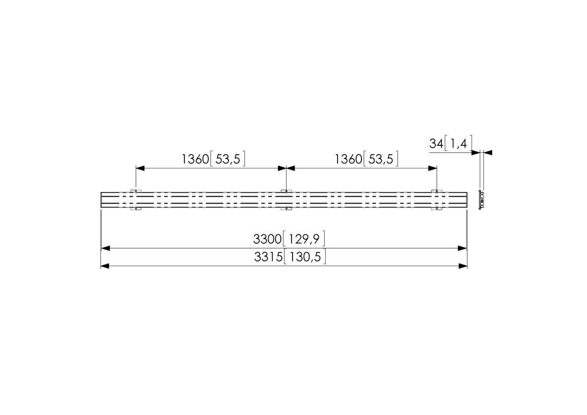 Vogel's PFB 3433 Display interface bar silver - Dimensions