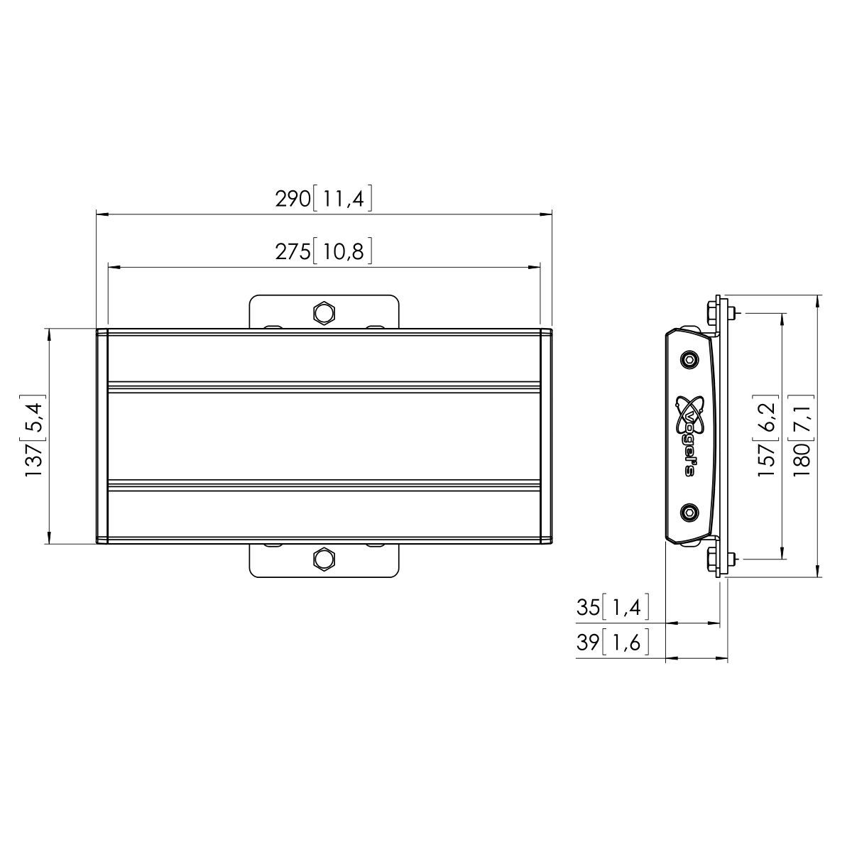 Vogel's PFB 3402 Display interface bar  - Dimensions
