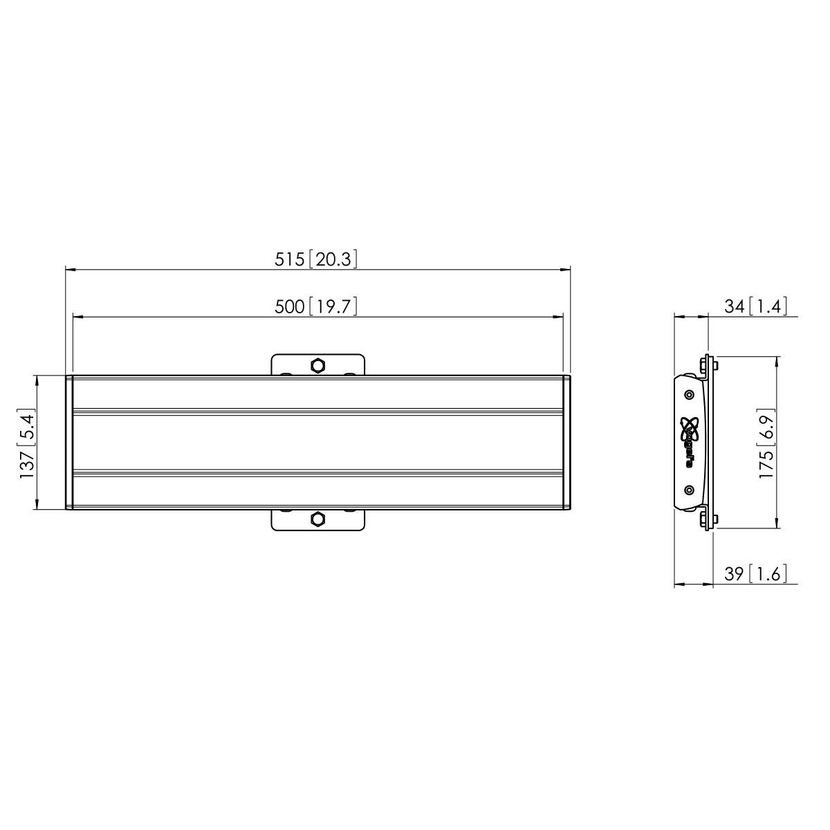 Vogel's PFB 3405 Display interface bar silver - Dimensions
