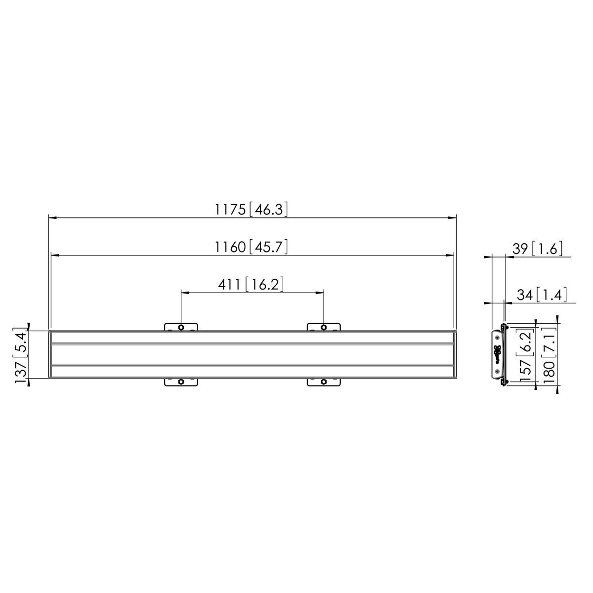 Vogel's PFB 3411B Display interface plaat - Dimensions