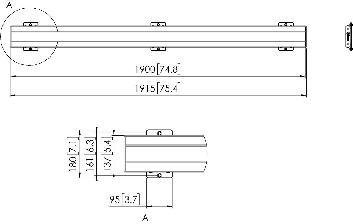 Vogel's PFB 3419B Display interface plaat - Dimensions