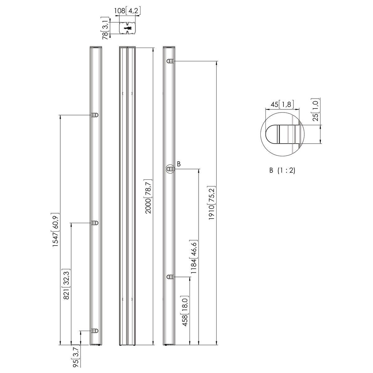 Vogel's PUC 2720 Pole silver - Dimensions