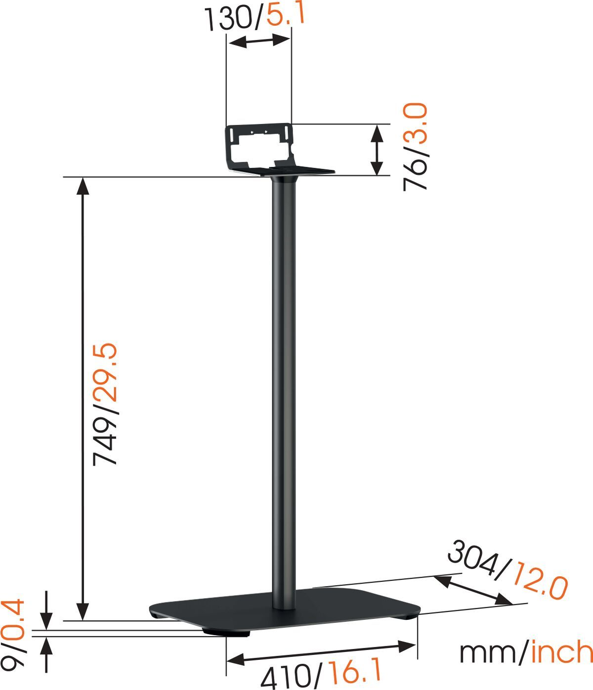 Vogel's SOUND 3305 Speaker Stand (black) - Ideally suited for: Denon HEOS 5