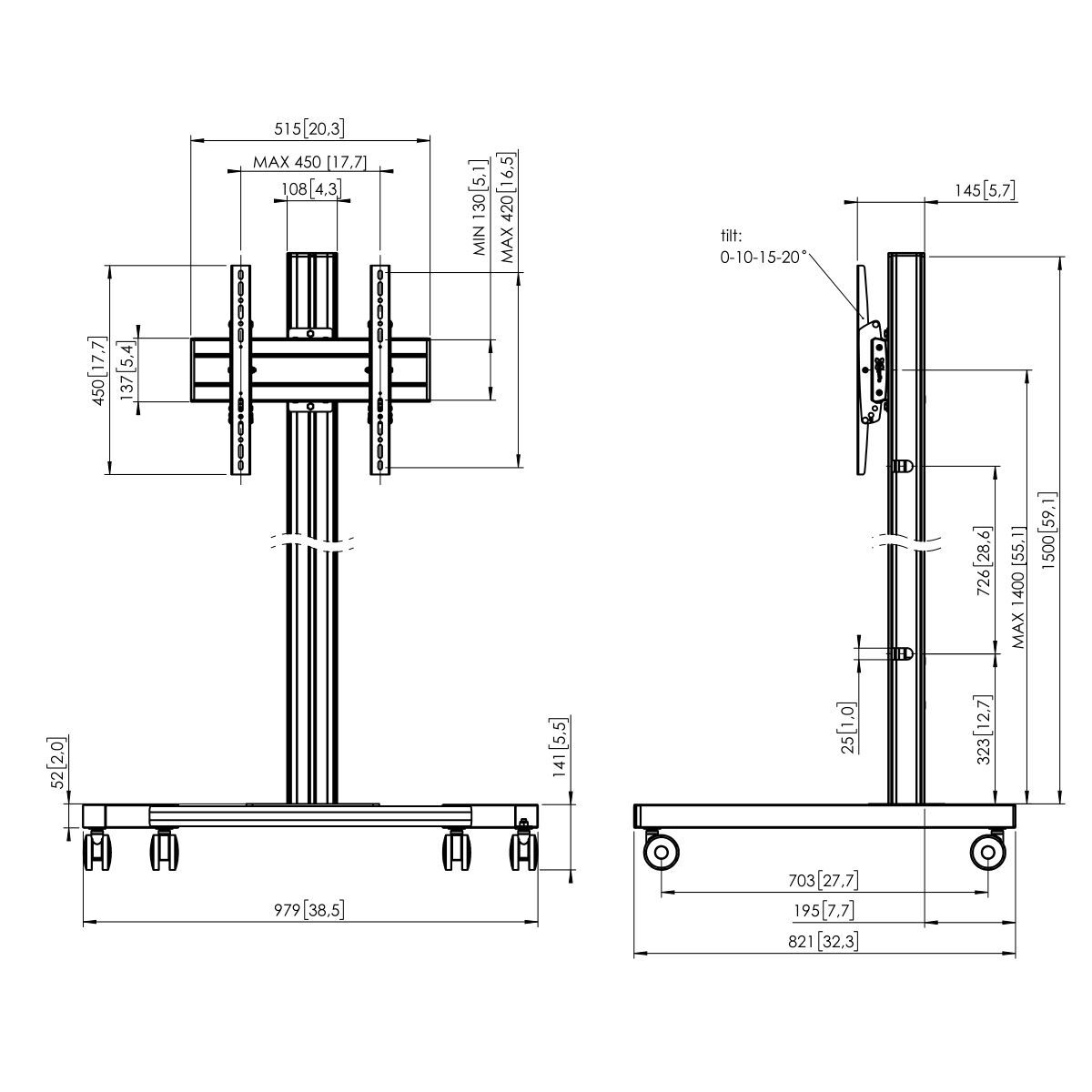 Vogel's T1544B Trolley - Dimensions