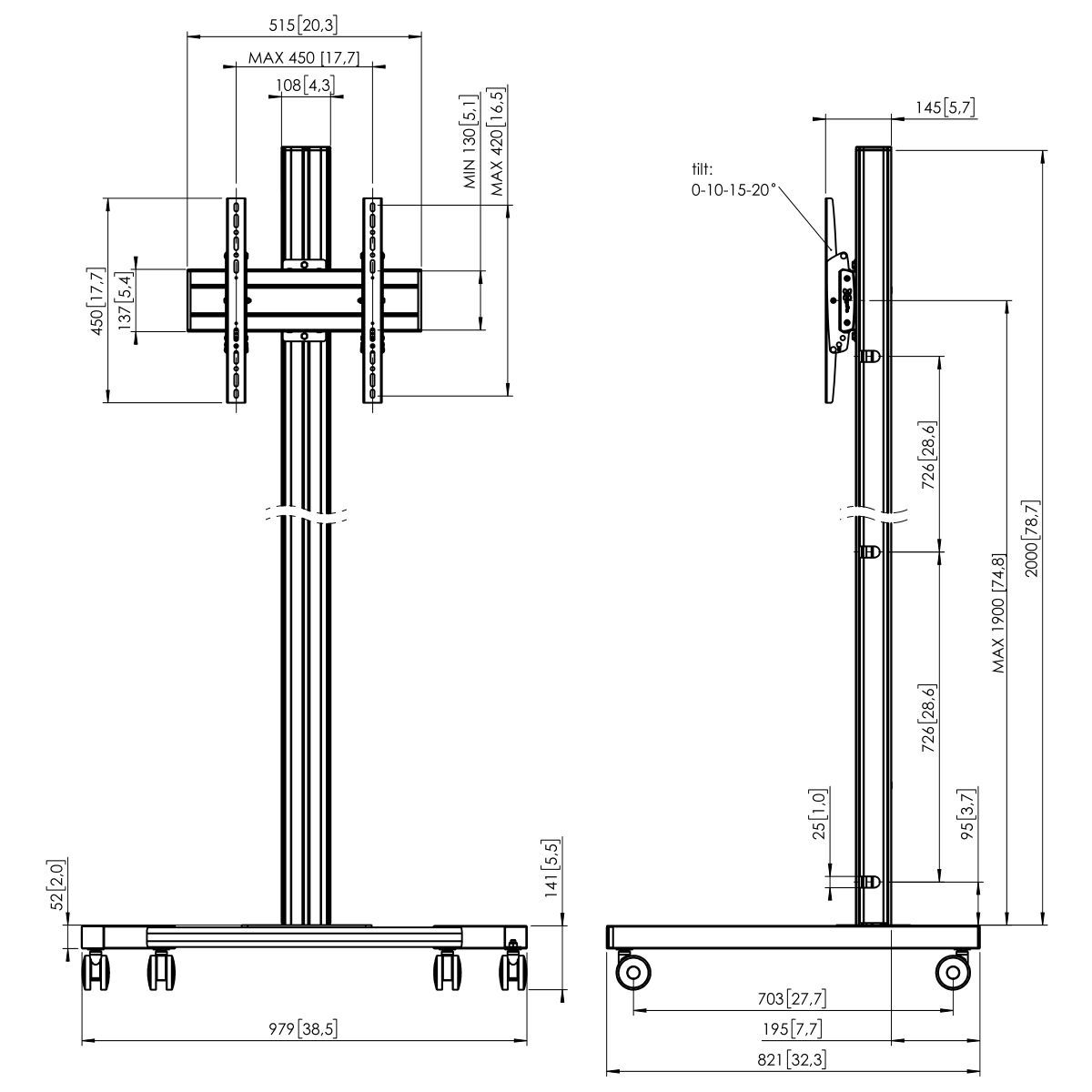 Vogel's T2044S Trolley - Dimensions