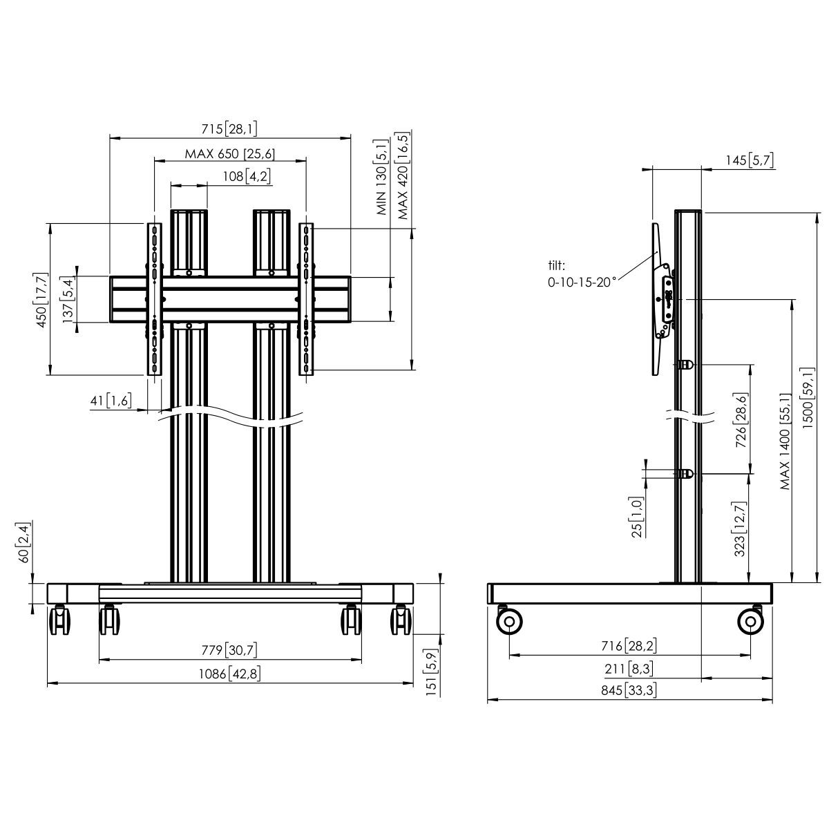 Vogel's TD1564 Trolley double pole - Dimensions