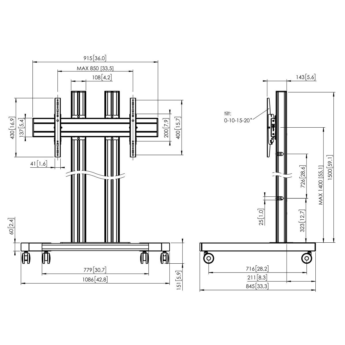 Vogel's TD1584 Trolley - Dimensions