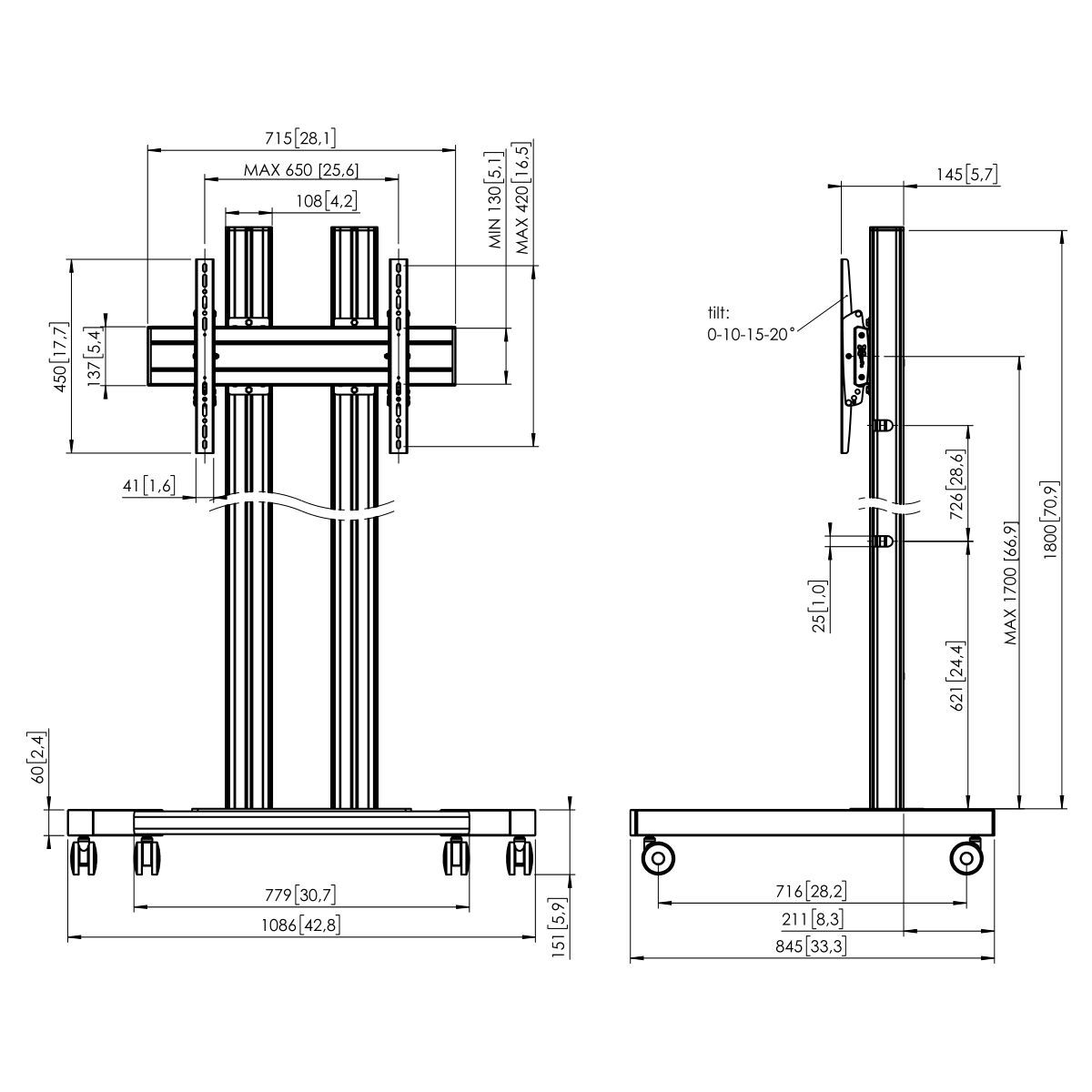 Vogel's TD1864 Trolley double pole - Dimensions