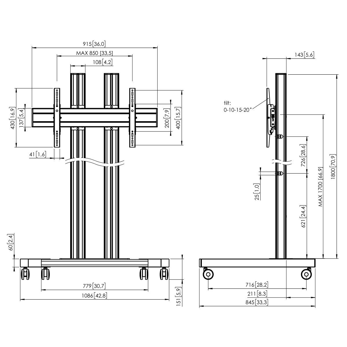 Vogel's TD1884 Trolley double pole - Dimensions