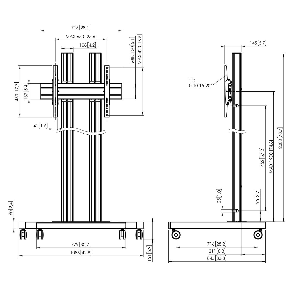 Vogel's TD2064 Trolley double pole - Dimensions