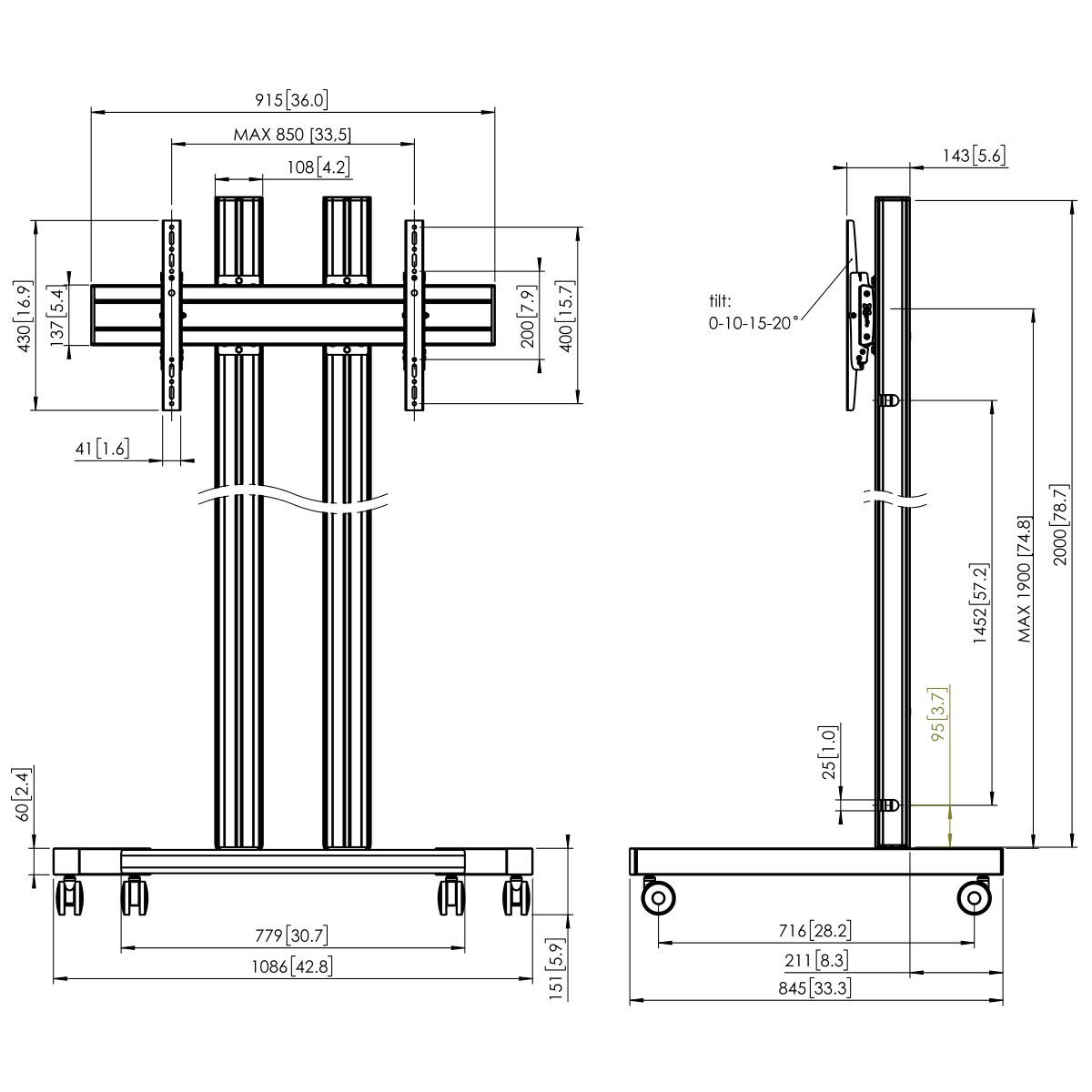 Vogel's TD2084 Trolley double pole - Dimensions