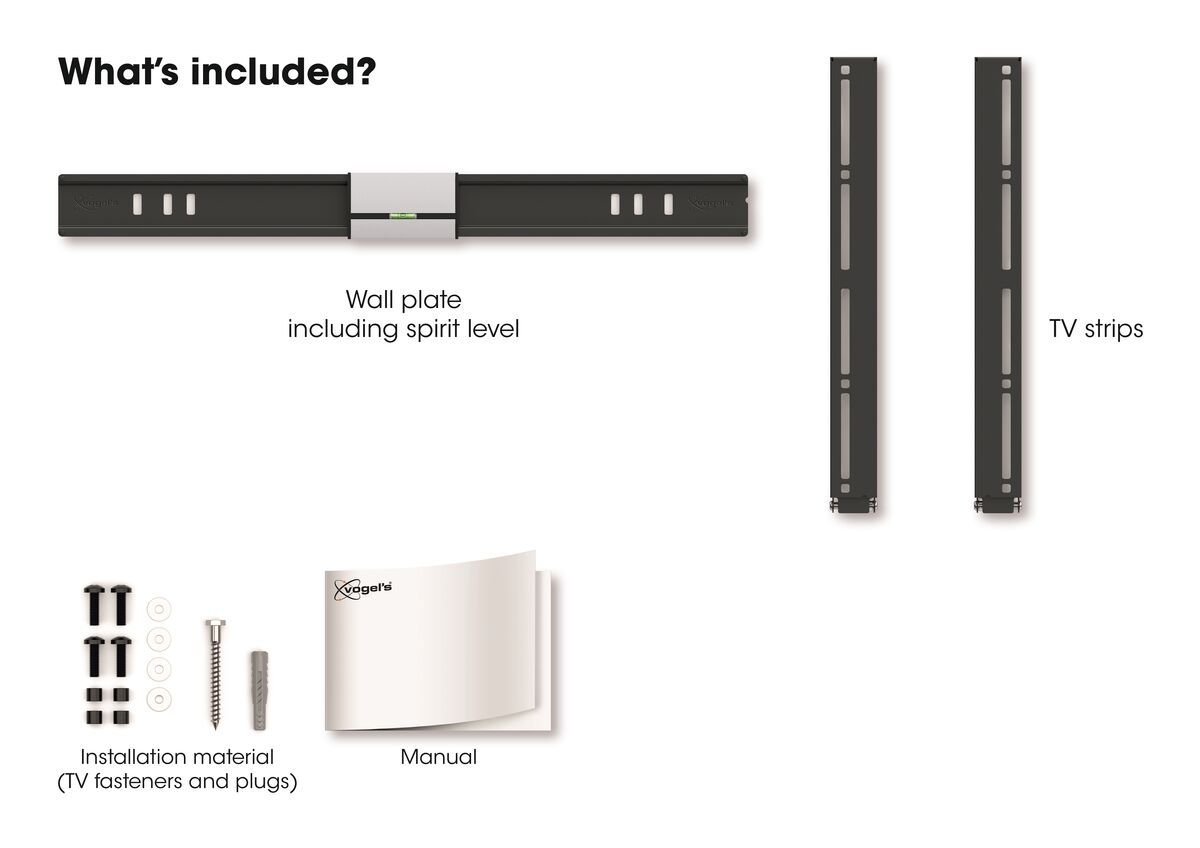 Vogel's THIN 505 ExtraThin Fixed TV Wall Mount - Suitable for 40 up to 65 inch TVs up to 40 kg - What's in the box