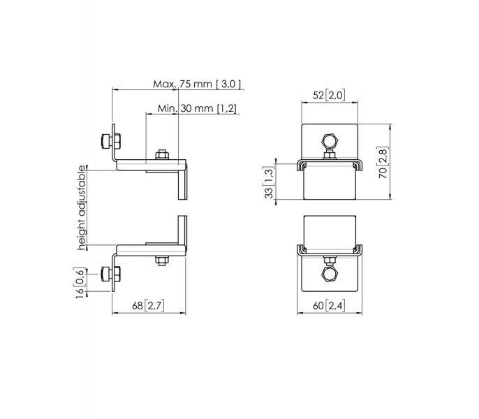 Vogel's PFA 9127 Accessory clamp for PUC 24/25/27 - Dimensions