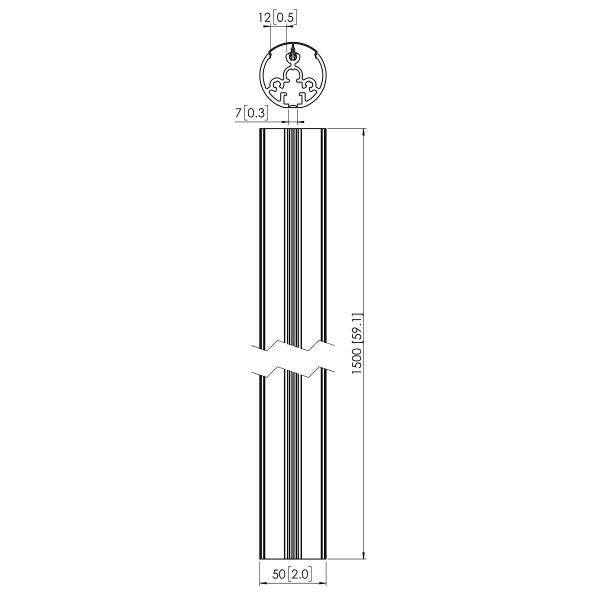 Vogel's PUC 2115 Deckenabhängungsprofil - Dimensions