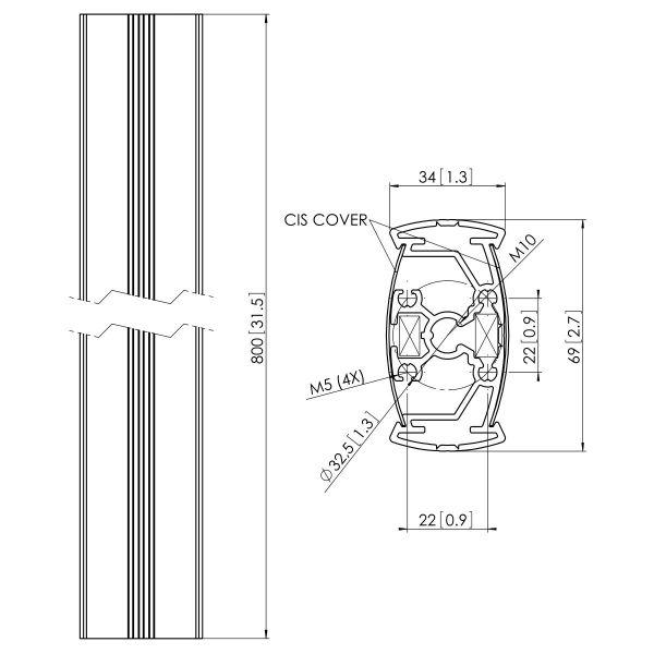 Vogel's PUC 2308 Pole 80 cm - Dimensions