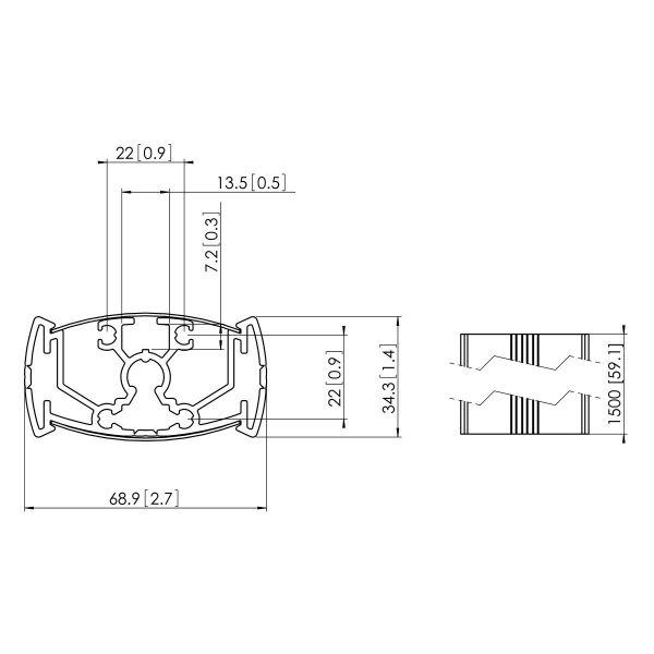 Vogel's PUC 2315 Pole 150 cm - Dimensions