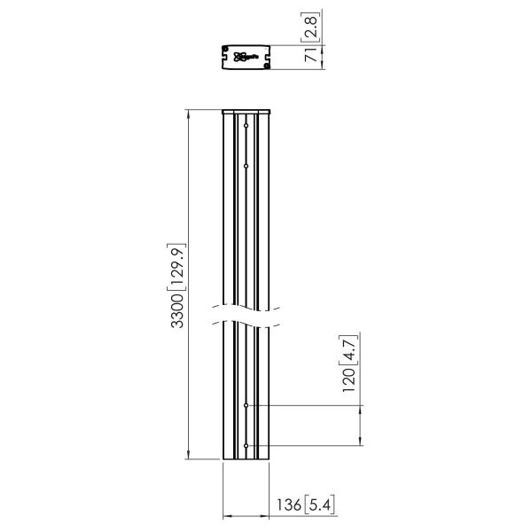 Vogel's PUC2933 Poteau 330cm - Dimensions