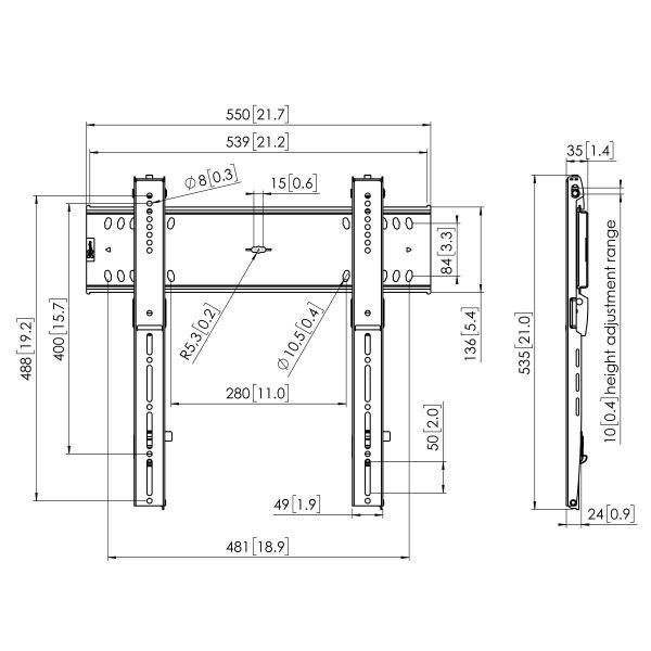 Vogel's PFW 6400 Display wall mount fixed Dimensions