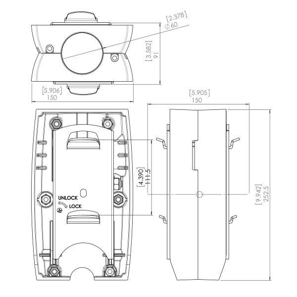 Vogel's PFA 9002 Mocowanie uchylno-obrotowe, do 2 x monitory plecami do siebie - Dimensions