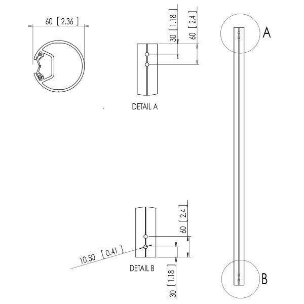 Vogel's PFA 9003 Pole Silver - Dimensions