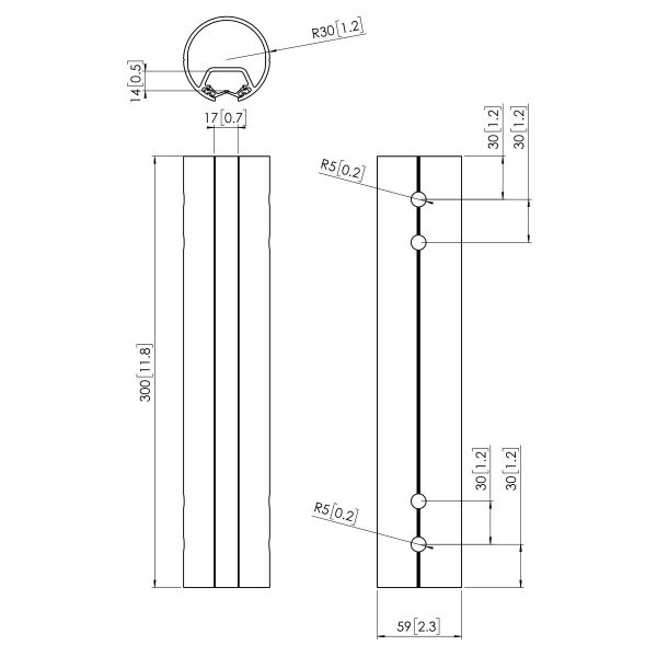 Vogel's PFA 9016 Buis zilver - Dimensions