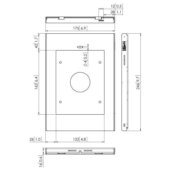 Vogel's PTS 1216 TabLock for iPad mini 1 / 2 / 3 - Dimensions