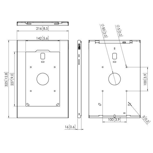Vogel's PTS 1232 TabLock for Samsung Galaxy Tab S4 - Dimensions
