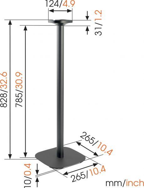 Vogel's SOUND 4301 Speaker stand for SONOS ONE (SL) & PLAY:1 (black) - Dimensions