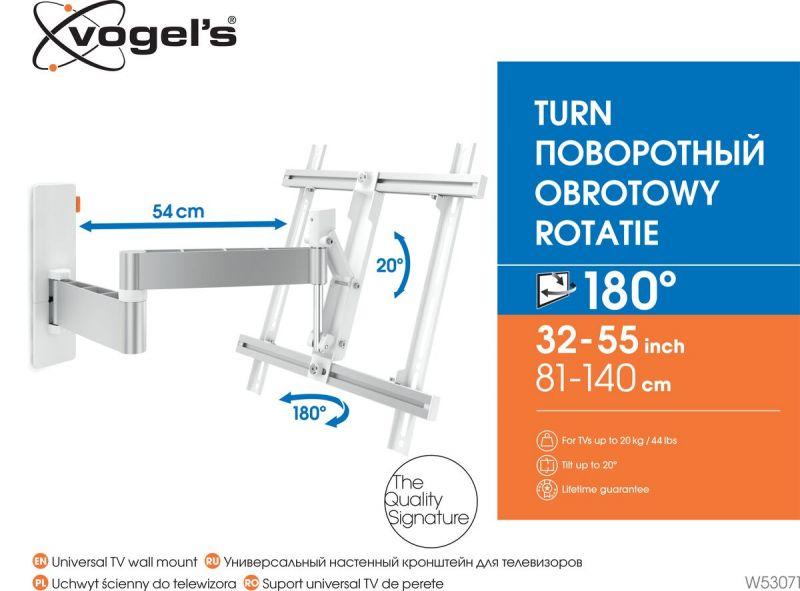 Vogel's W53071 шарнирный настенный кронштейн для телевизоров (белый) - Подходит для телевизоров от 32 до 55 дюймов до - Full motion (полная подвижность, до 180°) - Наклон на угол до 20° - Packaging front