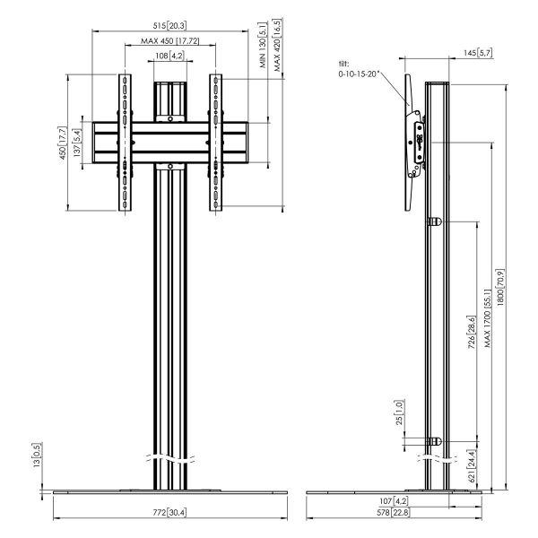 Vogel's F1844B Floor stand - Dimensions