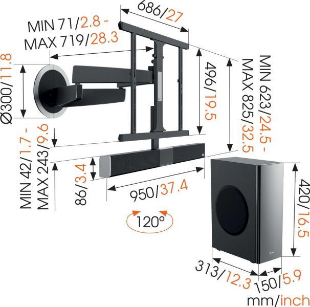 Vogel's MotionSoundMount (NEXT 8375) Elektrisch draaibare tv-beugel met geïntegreerd geluid 30 Draaibaar (tot 120°) Dimensions
